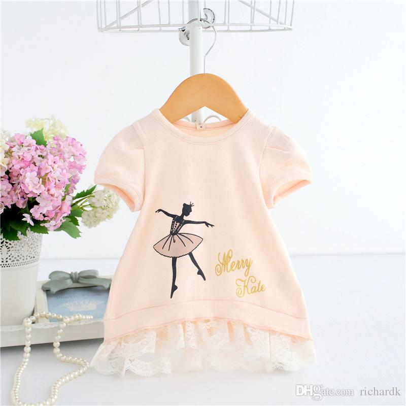 2018 Summer Lovely Sweet Girl T-Shirts Children Princess T-Shirts Toddler Girls Clothes 6-30M Princess Costume 2 clour