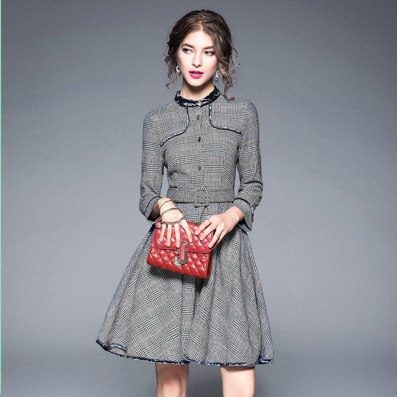 885cde61c4 Compre Novo Vestido Xadrez Houndstooth Cinto De Presente Mulheres Vestidos  De Moda Elegante Senhoras Casuais Vestido De 2018 Outono Big Swing Vestidos  ...