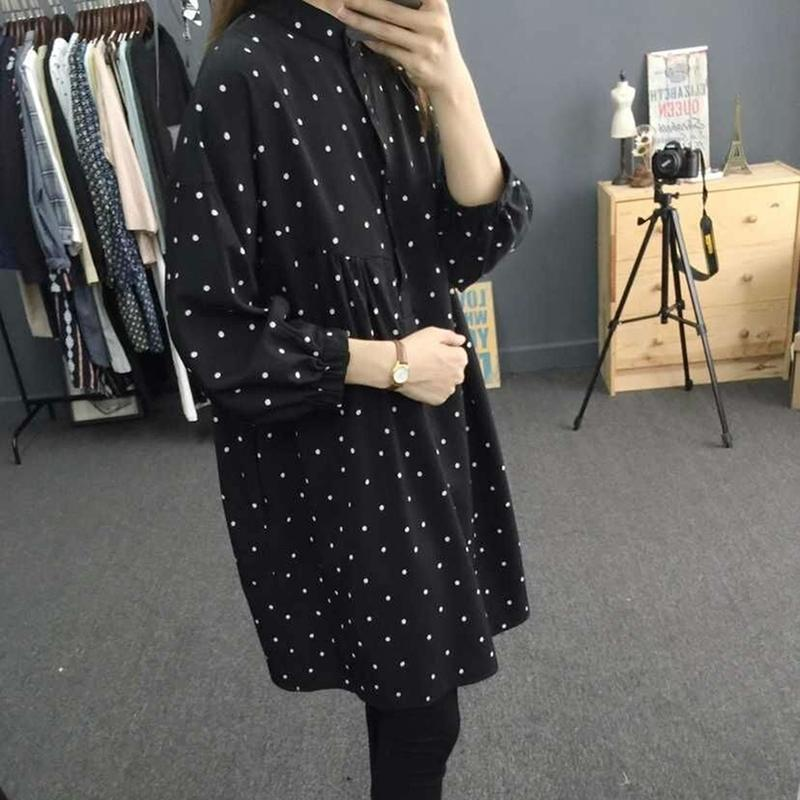 63c45ff7a6fbf5 Autumn Women Midi Dresses Fashion Long Sleeve Straight Cute Sweet Girls  Black Polka Dot Shirt Dress Basic Wear White Sundresses For Women Summer  Dress For ...