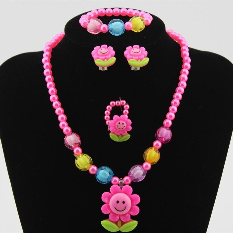 Baby Girl 3d Cartoon Sunflower Necklace Bracelet Earring Ring Jewelry Set For Christmas Gifts