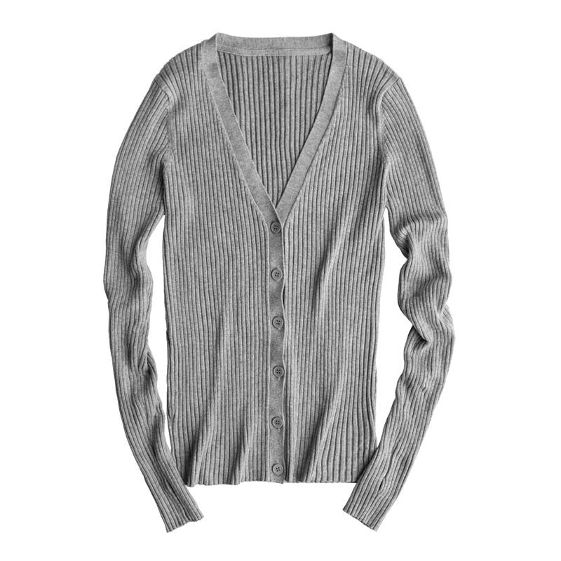35943c28486 2019 Basic Ribbed Cardigan Sweater Women Knitted Cotton V Neck Slim  Essential Jumper Long Sleeve Sweaters With Thumb Hole From Luweiha