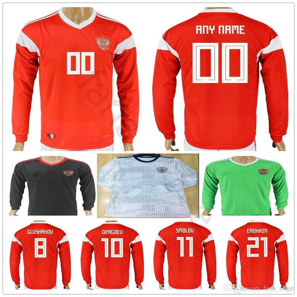 825d5756b9d 2019 Russia Long Sleeve Soccer Jersey 10 DZAGOEV ARSHAVIN 11 KERZHAKOV  KOKORIN KOMBAROV POLOZ AMEDOV Custom Red White 2018 Russian Football Shirt  From ...