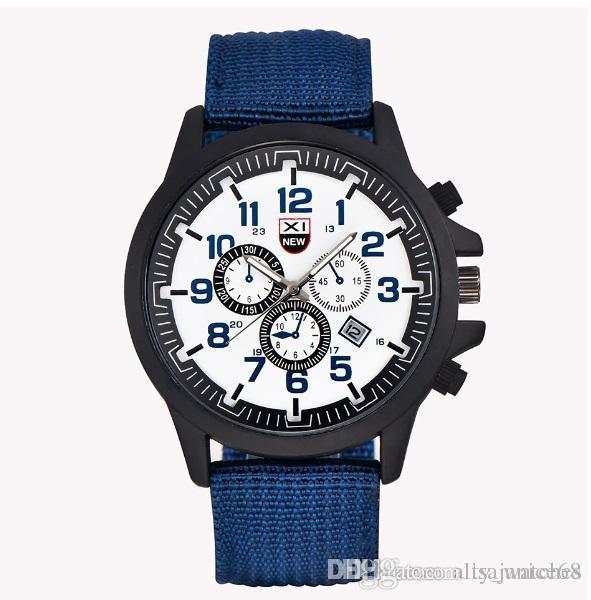 d8a4233693c5 Compre Relojes Azules Para Hombre Analógico Pantalla Correa De Banda De  Nylon Militar Correa De Reloj Calendario Fecha Reloj De Pulsera De Cuarzo  Barato A ...