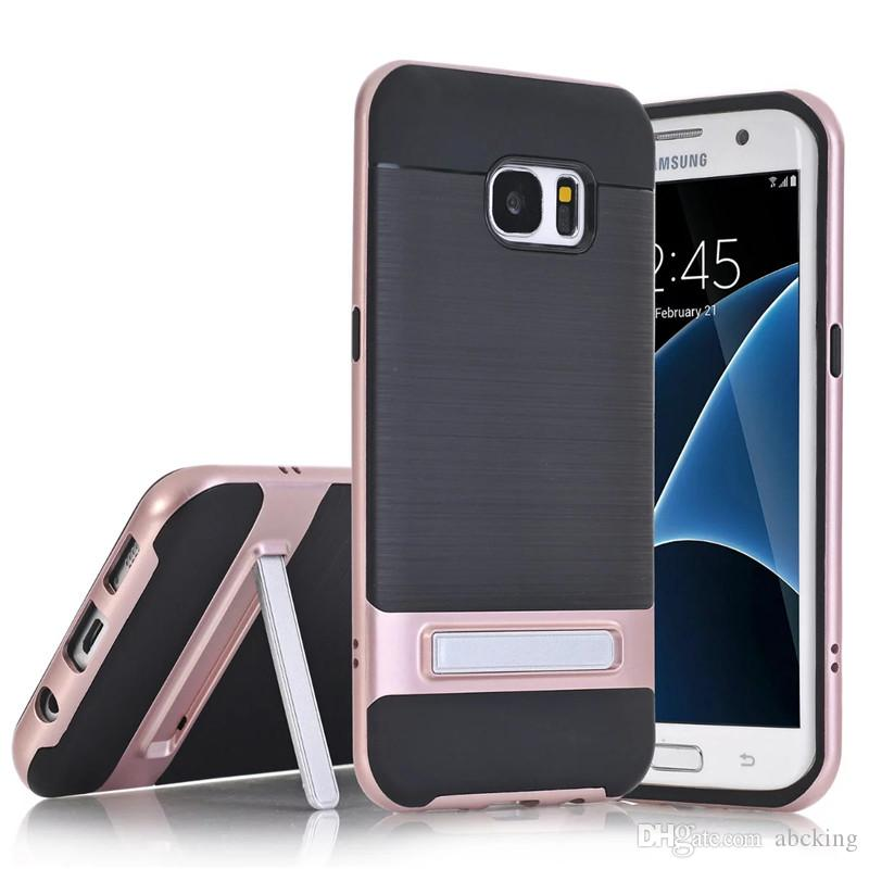 Carbon Fiber Brushed TPU + PC Stand Phone case for Samsung Galaxy S6 S7 S8 S7 Edge S8 Plus Silicone Soft Back Cover