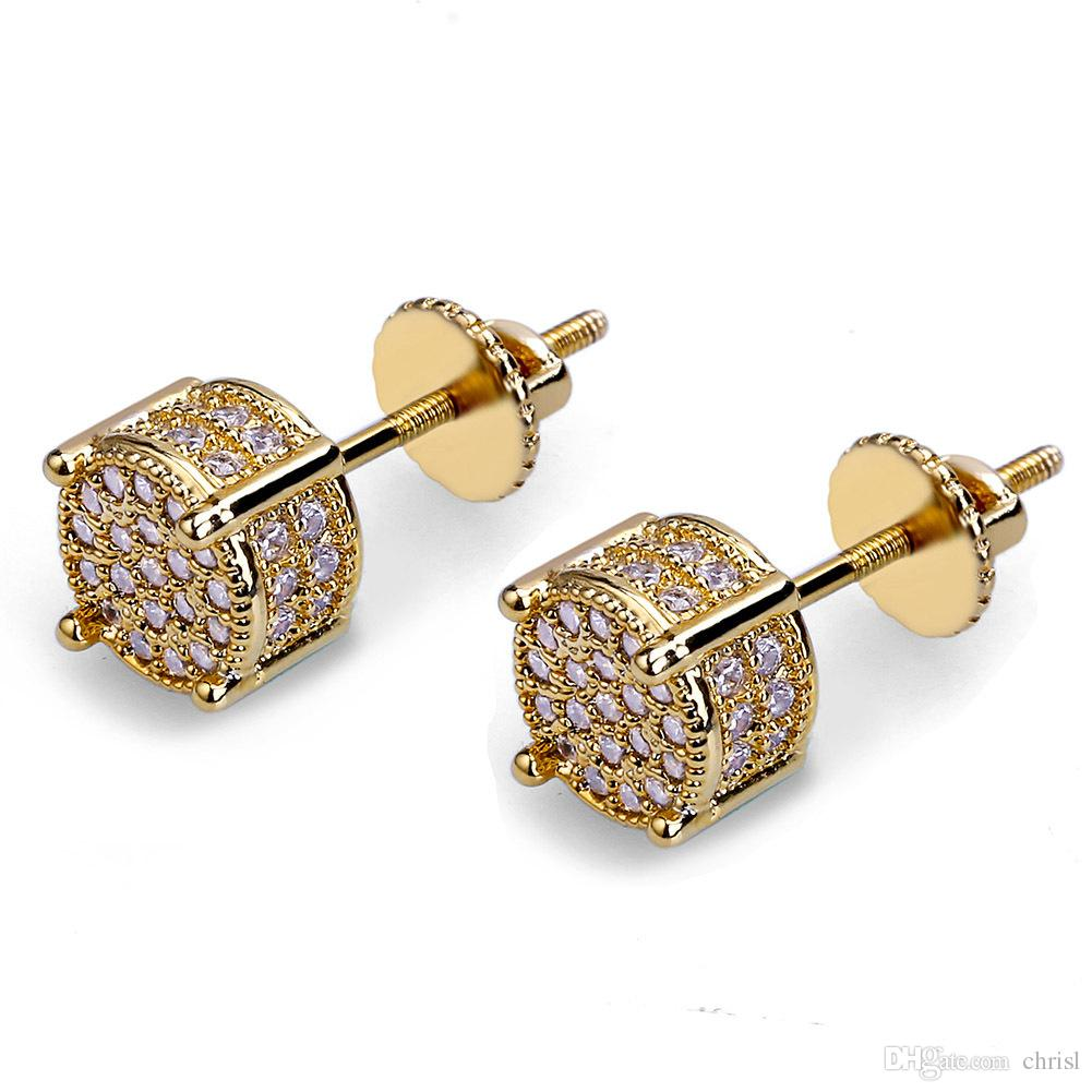 e3cd7bcecdc88 2019 Hip Hop Men S Iced Out TwoTone MicroPave Zircon Stone Screw Backs  Round Halo Stud Earrings 9MM From Chrisl