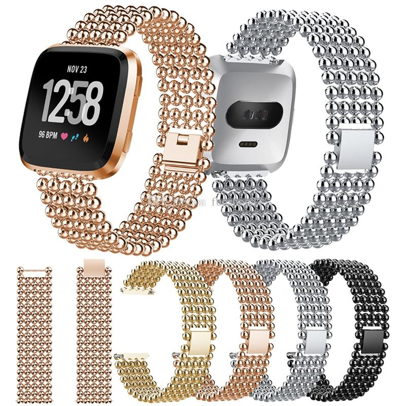 FC0225 Fitbit Versa Watch Bands Metal Stainless Steel Metal Bead Bracelet Strap Sports Wristband Bands for Fitbit Versa Fitness Smart Watch