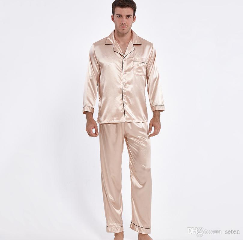 987da0ea17 Großhandel Faux Seide Pyjamas Für Männer Langarm Und Lange Hosen Hause  Anzug Nachtwäsche Mann Pyjama Gesetzt Von Seten, $30.29 Auf De.Dhgate.Com |  Dhgate
