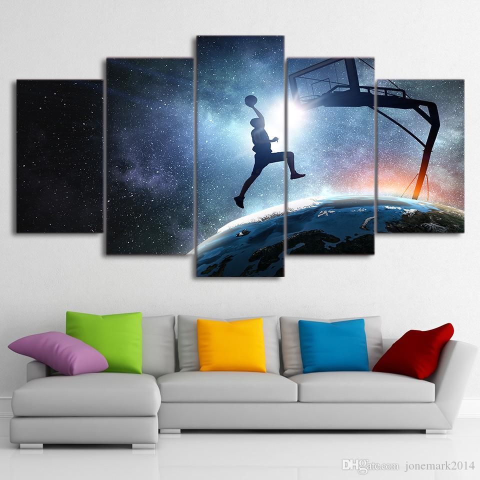 HD Printed Canvas Art Painting Playing Basketball Poster Starry Sky Wall Pictures for Home Decor CU-2852C