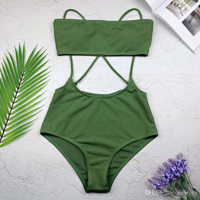 2019 Women Bikini 2018 Sexy Green Swimsuit Strapless Top And High