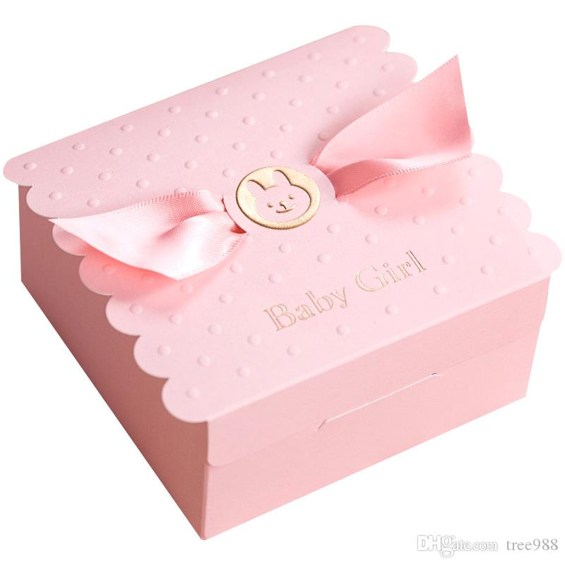 Korean Style Wedding Baby Birthday Candy Boxes Pink Blue