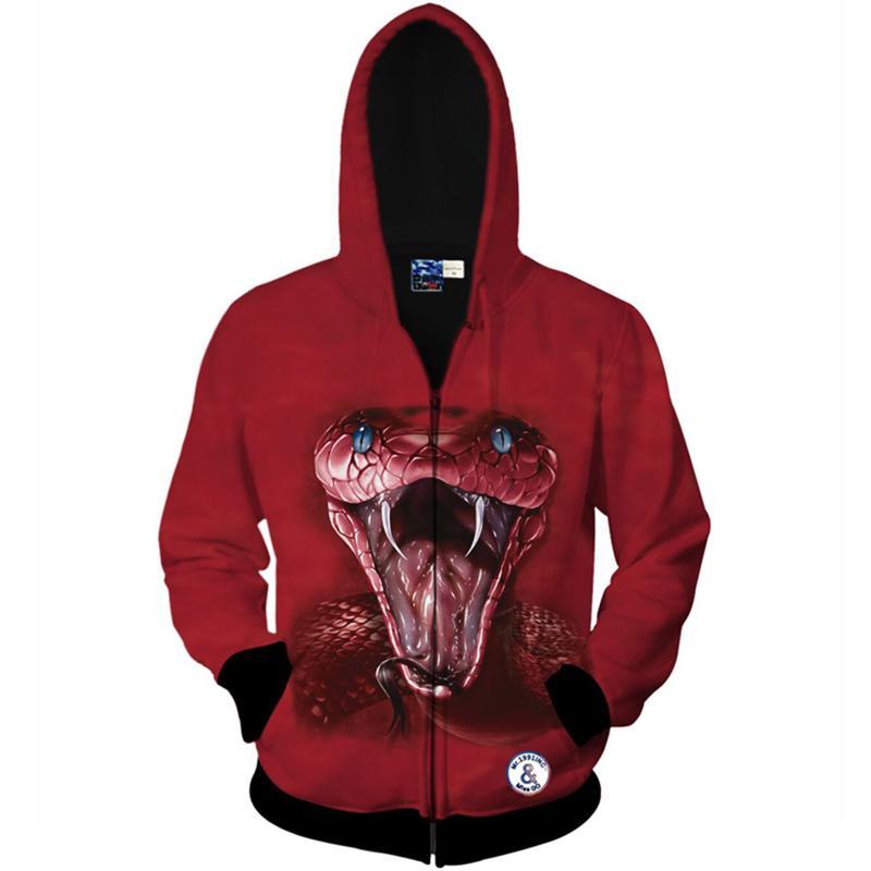 92c8d7b82 Cloudstyle 2017 Fashion Men 3D Hoodies Zipper Scare Snake Print Red ...