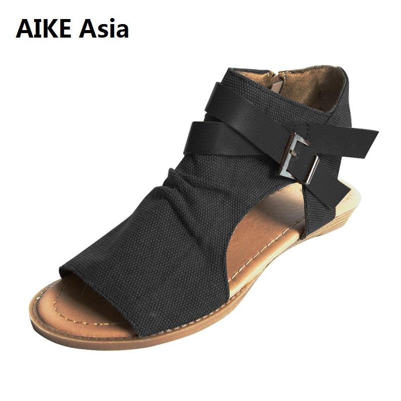14713b3a99be 2018 Woman Wedge Buckles Fish Mouth Sandals Gladiator Women Sandals Mid Heel  Canvas Ladies Summer Peep Toe Women Shoes Shoes For Women Nude Wedges From  ...