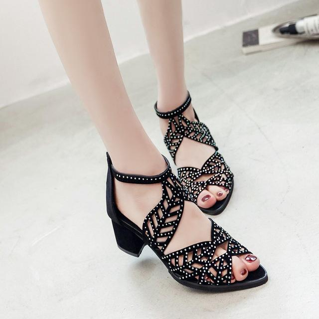 ca0f0c37d Fashion Women Shoes Sandals Hollow Platform Wedge High Heels Bohemia Shoes  Woman Zapatos Mujer Summer Female Beach Sandals Plus Size L 122 Flat Shoes  Wedge ...