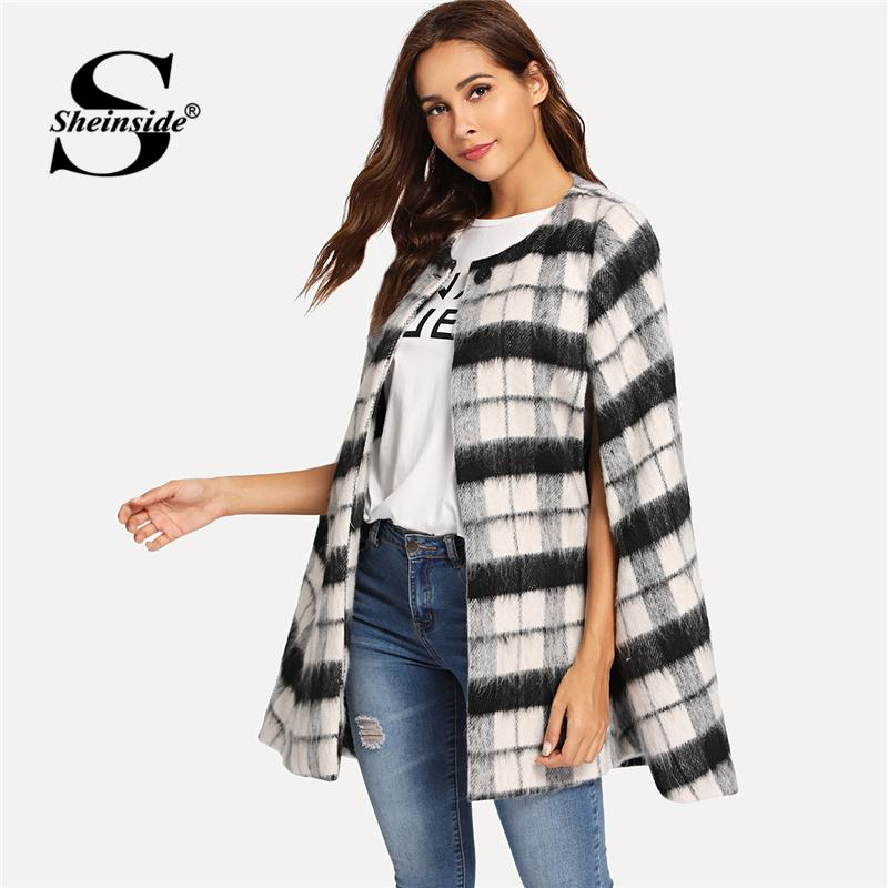 a3f7a8434a 2019 Sheinside Plaid Black And White Cape Party Outerwear Office Ladies Button  Front Faux Fur Cloak Sleeve Women Autumn Elegant Coats From Topcoat, ...