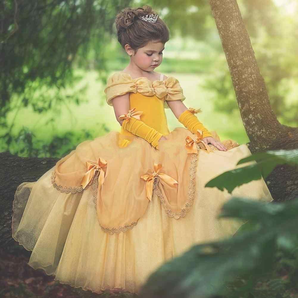 2018 Ball Gown princess Flower Girls Dresses Yellow Cheap spaghetti straps summer Puffy Little Girls Kid First Communion Dresses