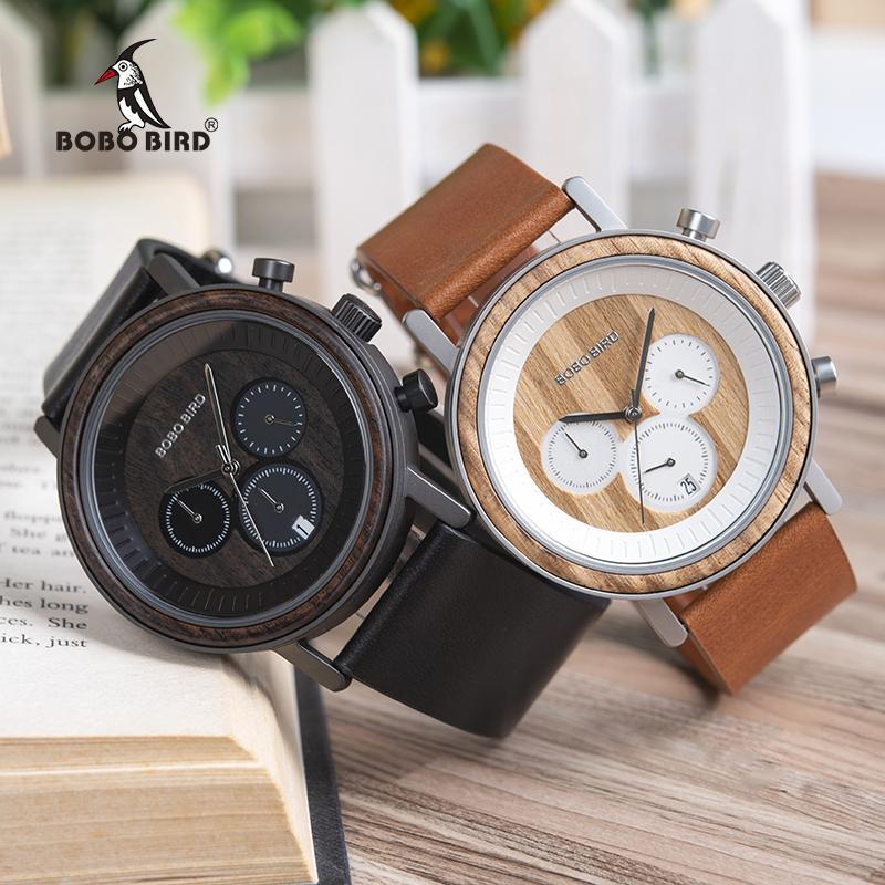56edf9546b0 Compre BOBO PÁSSARO Homens De Luxo Relógio De Madeira De Metal Cronógrafo  Relógio De Quartzo Relogio Masculino J R01 De Haroln