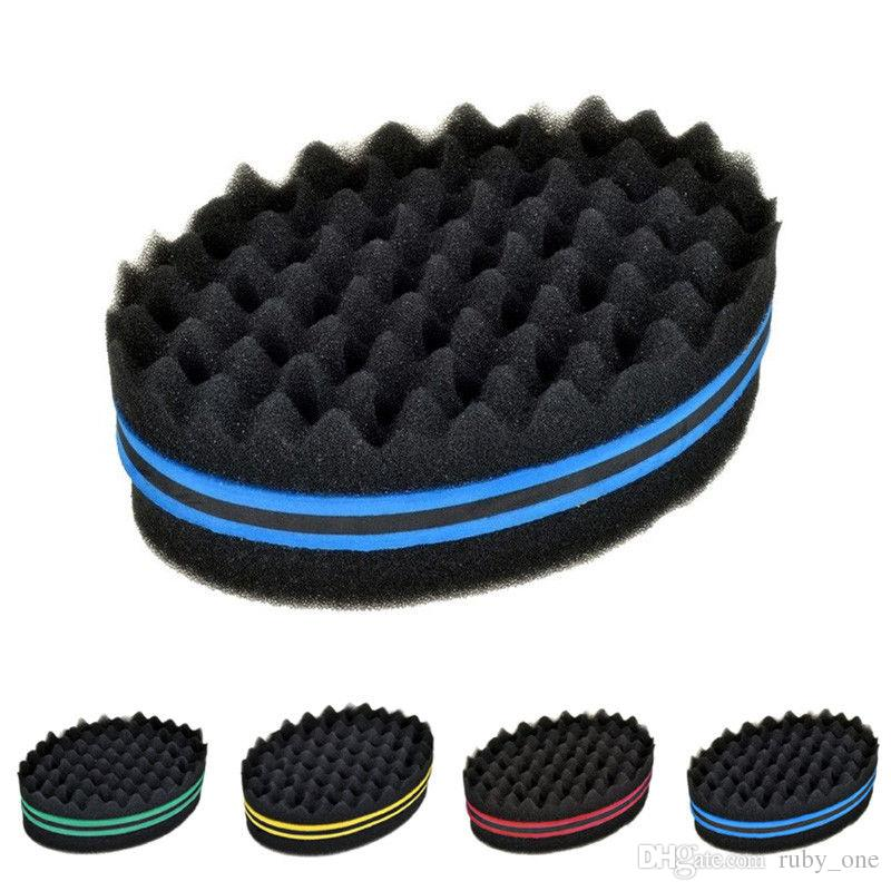 Magic Double Head Sponge Men Barber Hair Brush Black Dreads Locking Afro Twist Curl Coil Brush Hair Styling Tools GGA120