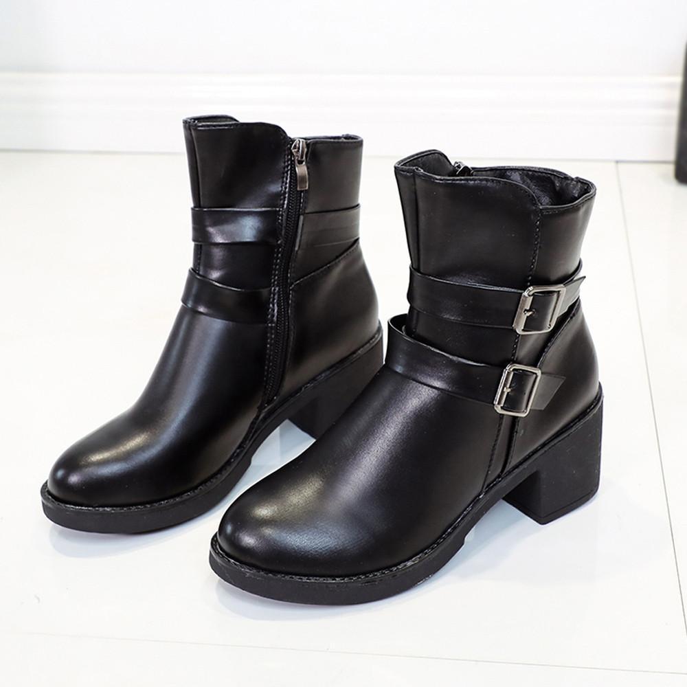 auténtico auténtico bastante baratas venta caliente más nuevo DIJIGIRLS 2018 botas de invierno mujer Cuñas Hebilla Correa de cuero Medio  s Martin Zapatos Tobillo botas mujer