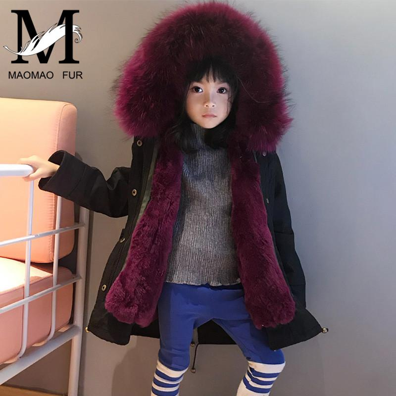 81685c4c331 Kids Real Rex Rabbit Parka Long Sleeves Natural Jacket Little Girl/Boy  Genuine Raccoon Fur Hood Collar Coat C18110301 Leather Jacket Sale Jacket  Sale From ...