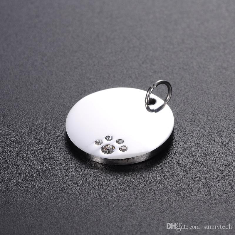 20 millimetri rotonda in acciaio inox cristallo cane Tag Animali ID Indirizzo Nome Numero di telefono Gioielli ciondolo etichetta ZA6044