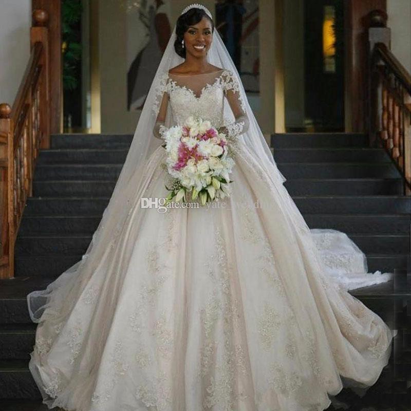 Long Sleeves Ball Gown Wedding Dresses Sheer Neck Satin Tulle