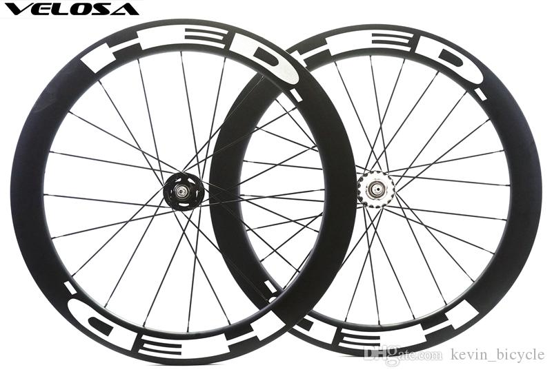 Velosa 60 track bike carbon wheelset with HED decals, 700C 60mm clincher/tubular,fixed gear street bike carbon wheel