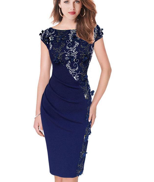 51396eac5 Compre Vestidos Para Mujer Bordado Elegante Fiesta Informal Noche Especial  Vestido De Moda Bodycon 391 A  21.38 Del Fenghuangmu