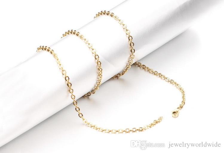 Start Gold Color Stainless Steel Necklace Chain O Shape 2mm 3mm Width 18 20 22 24 Inch Length Fashion Women Jewelry