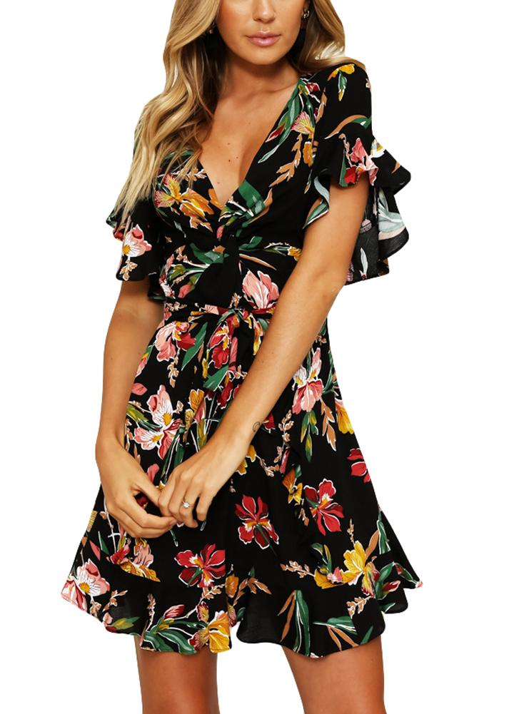 f5bd93e6e64a 2019 2018 Spring Ruffle Dresses Women Floral Mini Dress V Neck Flare Sleeve  Elastic Waist Casual A Lined Skater Dresses Female Black From Waxeer