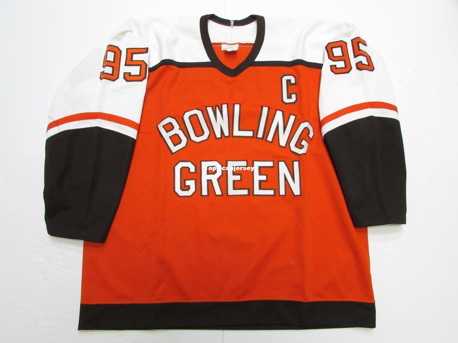 best service 19f04 3761b BOWLING GREEN FALCONS NCAA POWERS #95 ORANGE CCM HOCKEY JERSEY