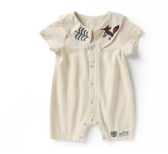 b52b667f0a13 Baby Kids Clothing Romper Pet Pan Collar Short Sleeve Little Fox ...