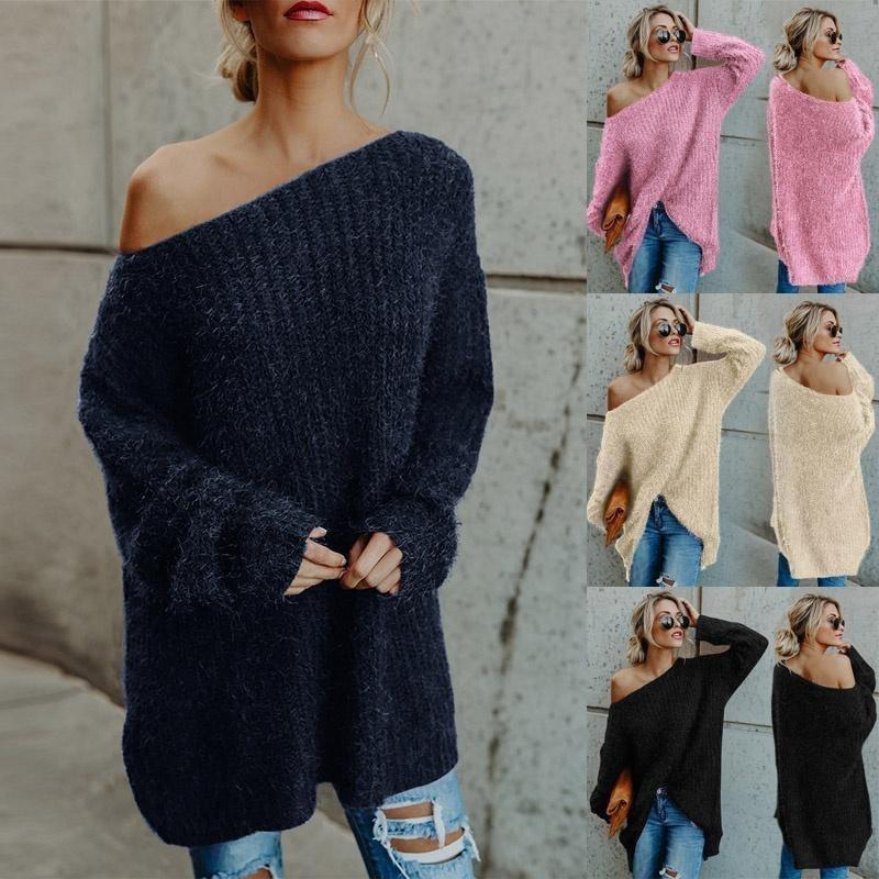 Acheter Couleur Unie Sexy Off The Shoulder Sweater Femmes Casual