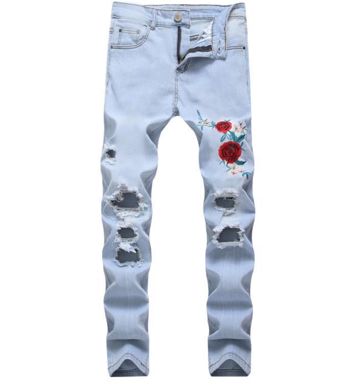 1cc23e2163e5c0 Men's Flower Embroidered Holes Jeans Fashion Hip Hop Straight Slim  Destroyed Torn Ripped Denim Man Jeans Light Blue