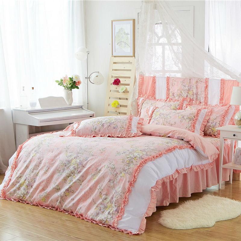 Girls Princess Style Bedding Set Peach 100 Cotton Reactive Fashion Pastoral Floral Sets For Single Double Bed Black Duvet Cover King Comforter From