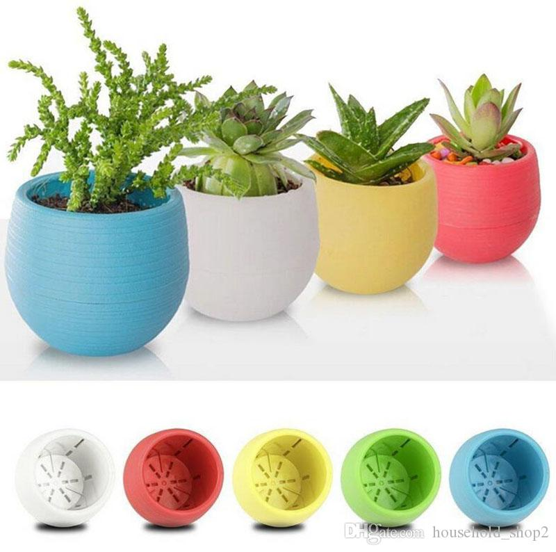 Mini Round Plastic Plant Flower Pots Colorful Home Office Planters Decorative For Bedroom Living Room