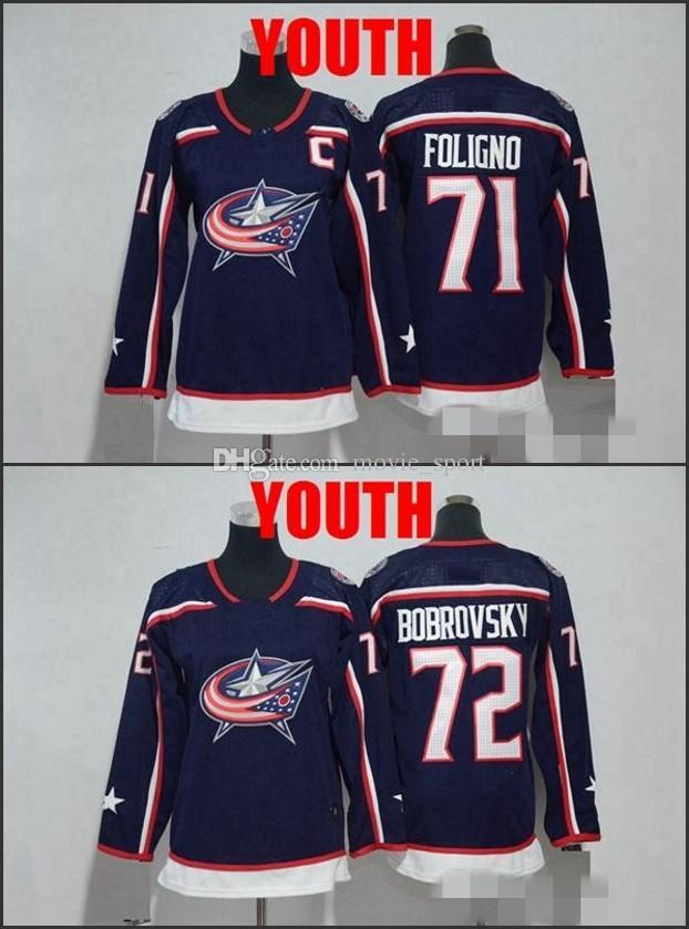 430008e7 ... real discount youth new 2018 columbus blue jackets 71 nick foligno 72  sergei bobrovsky hockey jerseys