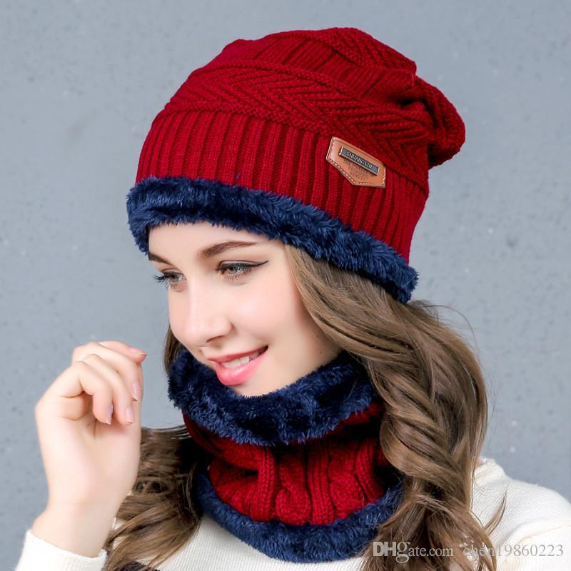 c4be84eacee New Men S And Women S Knitted Wool Hats Warm Hooded Winter Plus Velvet Hat  Tide Bib Full Set Of Outdoor Caps Beanies For Girls Baby Hat From  Chen19860223