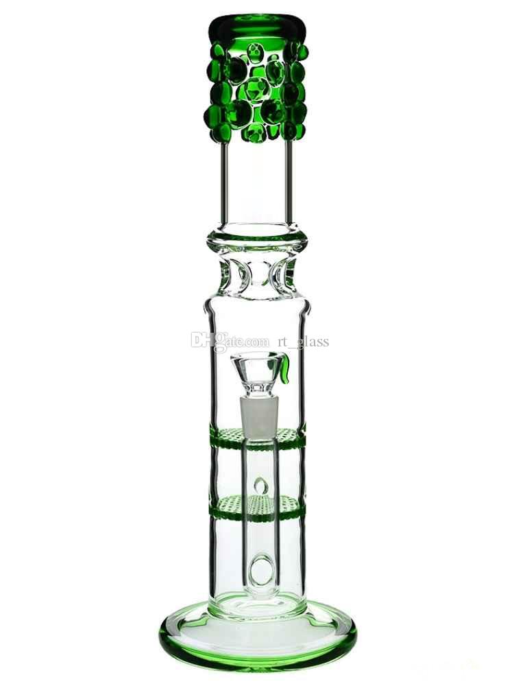 double honeycomb bongs thick waterpipe the neck have Percolator Ice compartment water pipe 18mm bowl 13""
