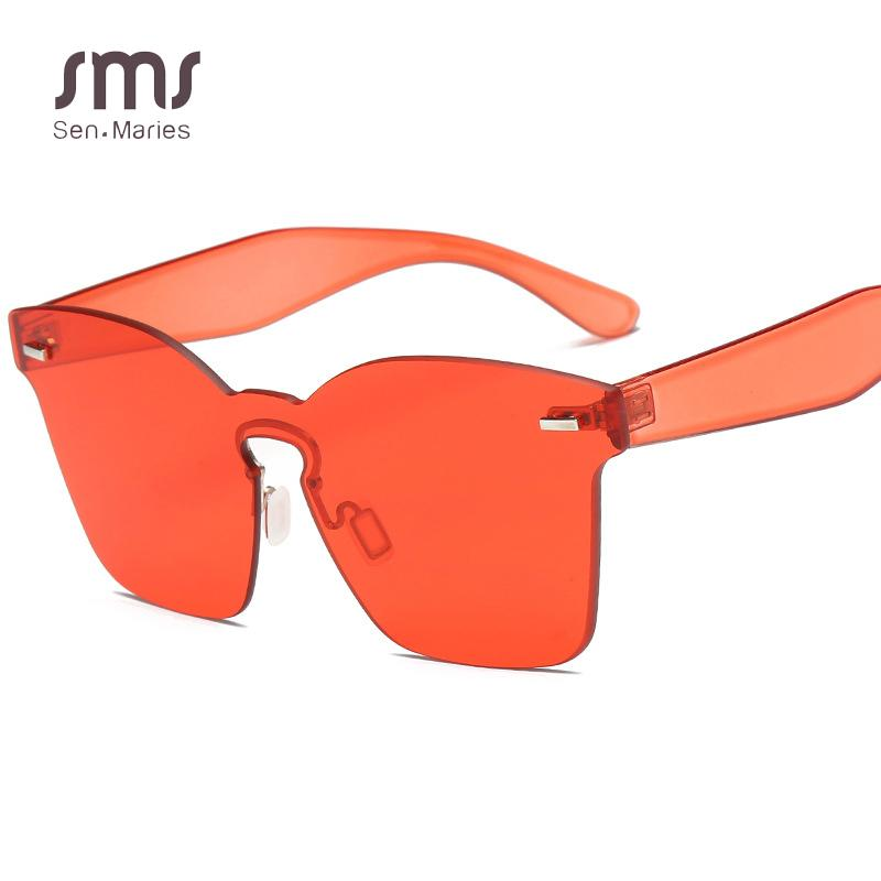 92173079098 Brand Designer Oversized Rimless Sunglasses Women Ladies Red Yellow Shades  Sun Glasses For Female Personality Big Lens UV400 Spitfire Sunglasses  Native ...