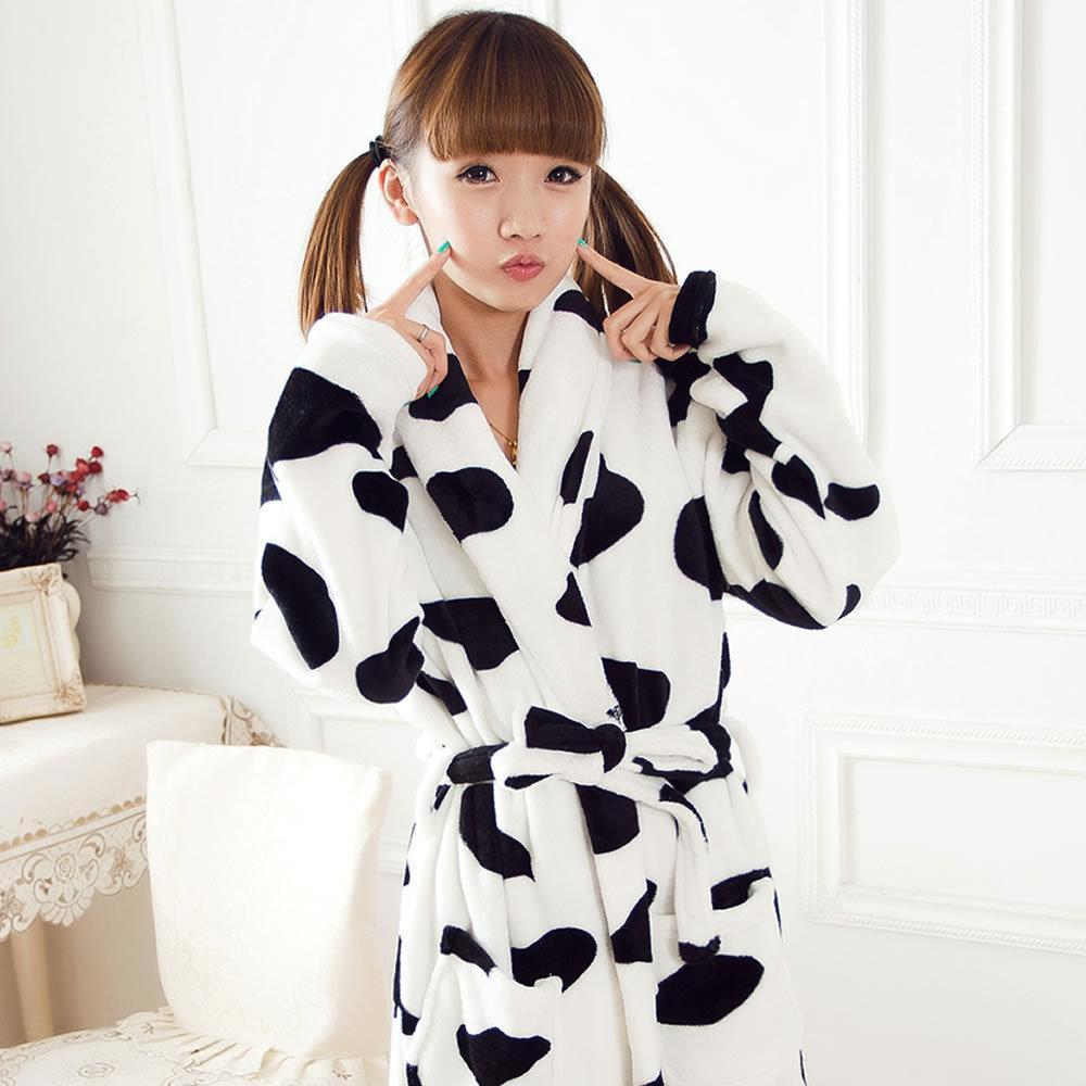 8d7ba760b 3D dibujos animados lindo animal vaca franela camisón mujeres otoño e  invierno pareja de manga larga gruesa albornoz