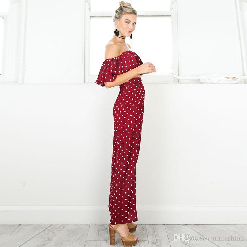 Mulheres 2018 Casual Vestidos Alças Dot longo vestido vermelho do vintage Verão Maxi Vestido Chiffon Ruffle Sexy Praia Vestidos Vestidos