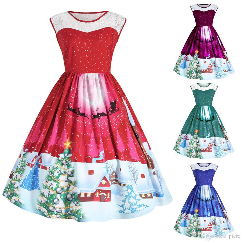 9741928091d 2019 Women Christmas Print Lace Pin Up Swing Lace Party Panel Plus Size  Dress NEW Girl Lady Vintage Retro Women A Line Dress Vestidos From Piera