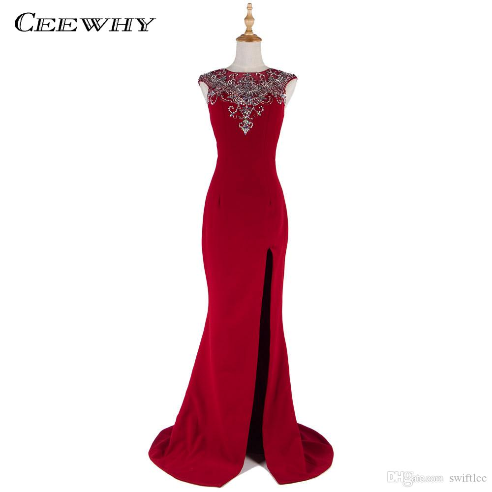 CEEWHY Abendkleider Burgundy Mermaid Evening Dresses 2018 Crystals ...