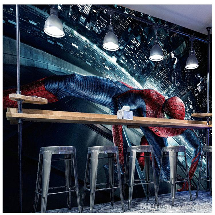 3d Marvel Movie Avengers Mural Spiderman 5d Wallpapers Kids Room Bar