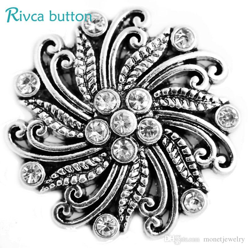 D03305 Hot Rivca Gold Newest Rhinestone For Women Diy Moblie Phone 18mm Ancient Silver Plating Snap Button leather Bracelets