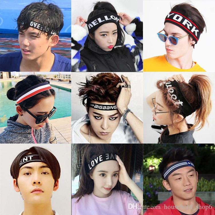 4f125ab254426 Großhandel Mode Elastische Sport Stirnband Frauen Männer Stirnband  Buchstaben Haarband Yoga Fitting Haar Stirnband Whit Unterschiedliche Art  Von ...