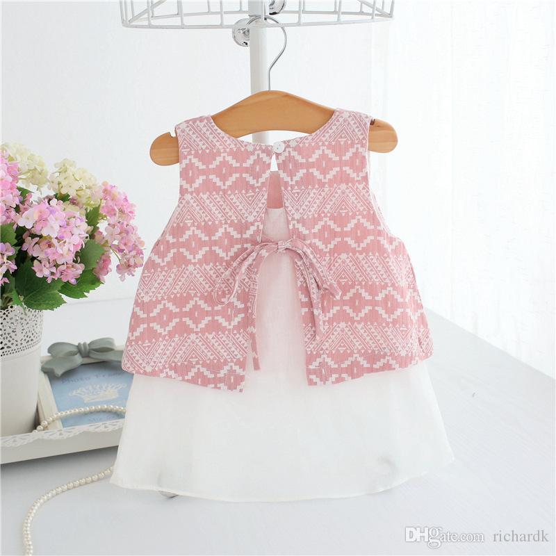 Girls Summer Tutu Dresses For Girls 2018 Children Kids Casual Dress Ball Gown 0-30M pink blue