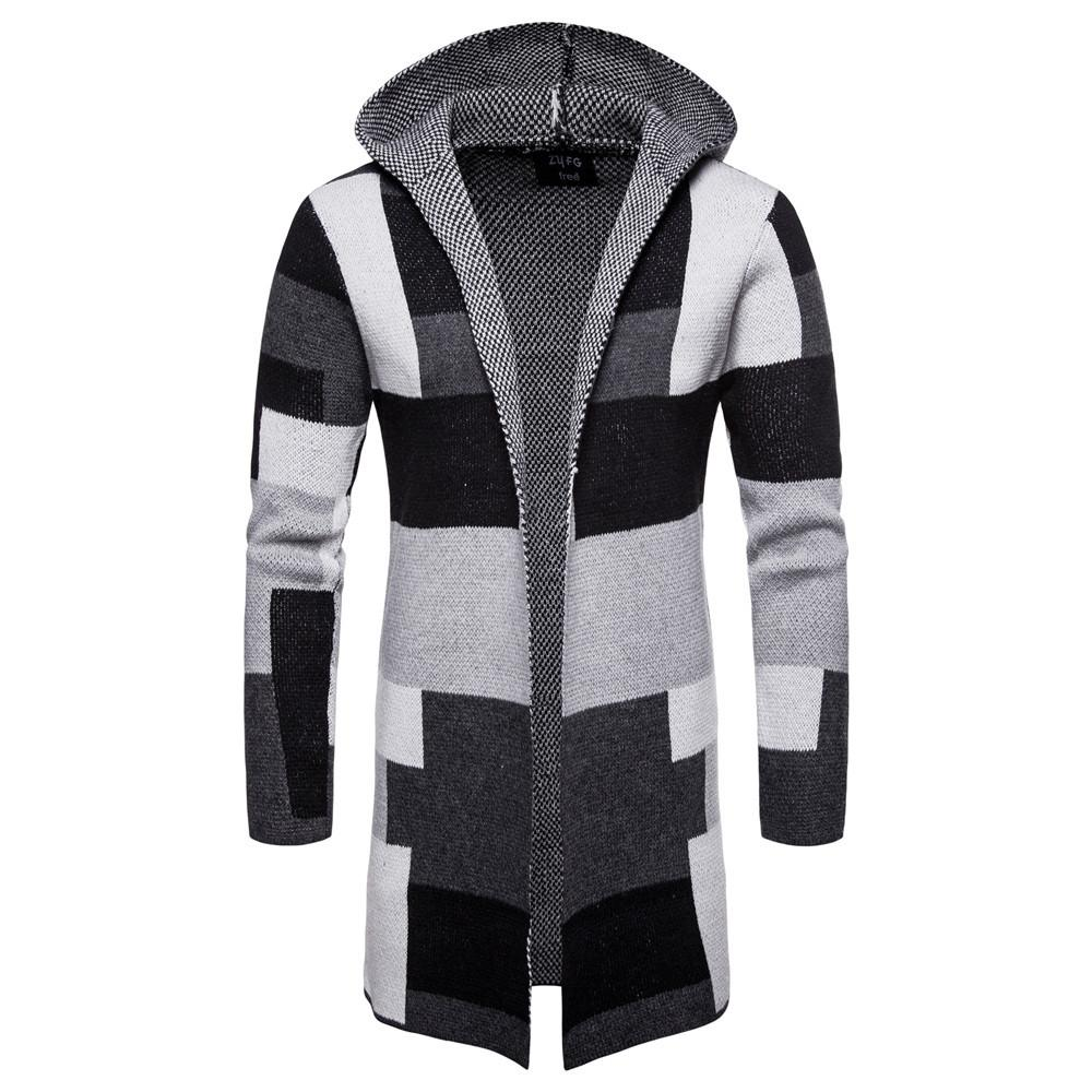 8190ee6785 2019 Loldeal Mens Casual Open Front Long Color Block Sweater Cardigan  Hooded Knit Coat From Eventswedding