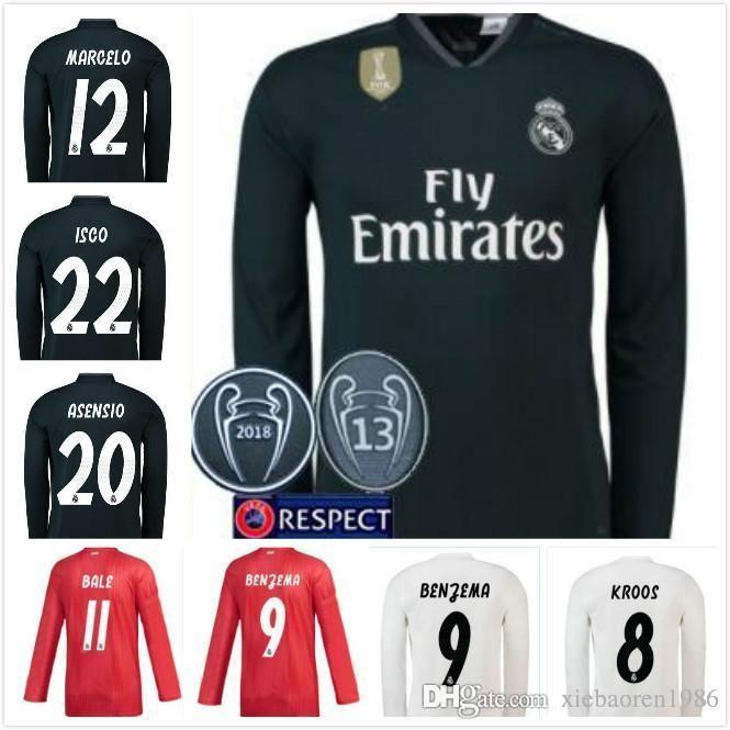 S 2XL Long Sleeve 2018 2019 Real Madrid Home Soccer Jerseys 18 19 RONALDO  ASENSIO BALE RAMOS ISCO MODRIC Football Shirt Thailand Quality Canada 2018  From ... 2f226cbea