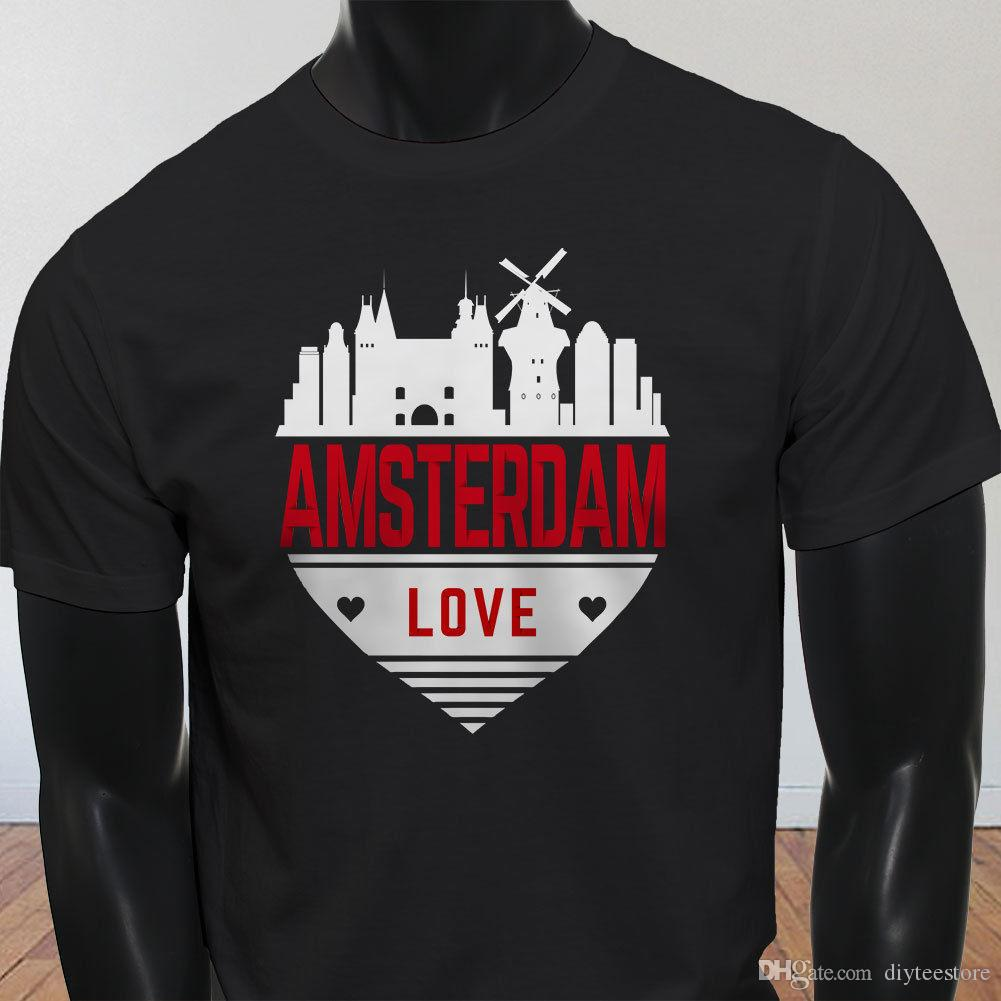 9c906d4d395167 Amsterdam Love Skyline Heart Netherlands Pride Mens Black T Shirt T Shirt  Men Fashion White Short Sleeve Custom Plus Size Funny Tshirts As T Shirt  Online T ...